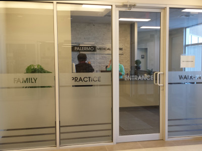 Etched vinyl window film for doctors office, Oakville, Ontario.