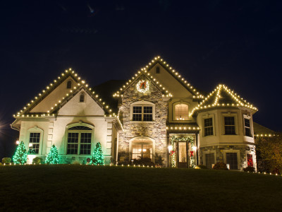 Hummelstown, PA Holiday Lighting Christmas Decor  Warm White, Red and Green Accents