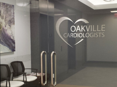 Cardiologist office reception sign, Oakville, Ontario