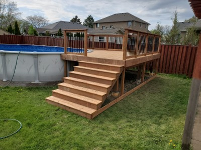 Pressure treated deck for a above ground pool