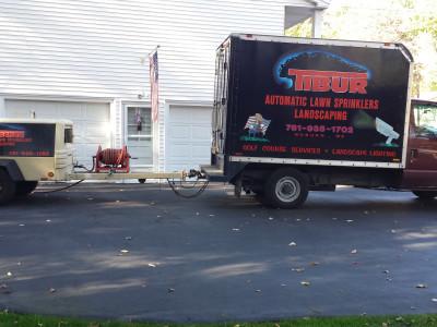 Irrigation truck and compressor