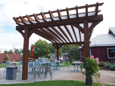 Great for commercial use! Providing shade and comfort for outside dining.