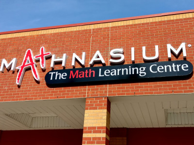 Mathnasium front lit channel letters, installed in Oakville On.