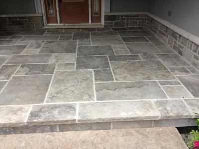 Custom Wiarton flagstone landing; stone sourced right here in Ontario.