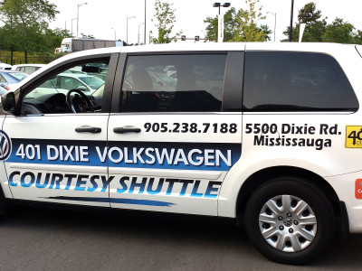 VW dealer shuttle graphics, Mississauga, Ontario.