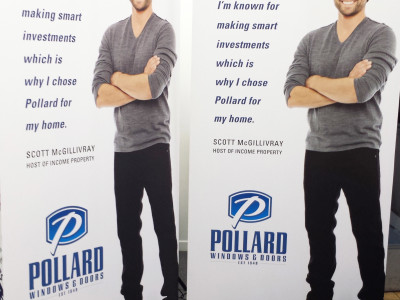 Banner stands for Pollard windows of Burlington.