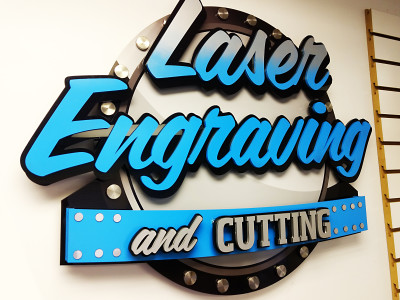 Our laser cut 3 dimensional store sign.