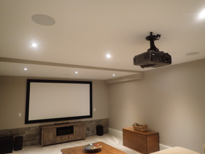 "106"" Draper Screen, BenQ projector with Atlantic Technology 7.1 Surround Sound"