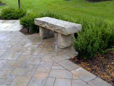 Wiarton bench with large legs and oversize top