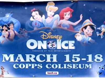 Copps Coliseum Disney on ice banner.