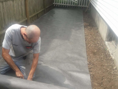 During - Grading and crushed stone installation (Lynn, MA)