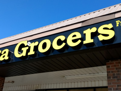 Grocery store front lit channel letters, installed in Burlington On.