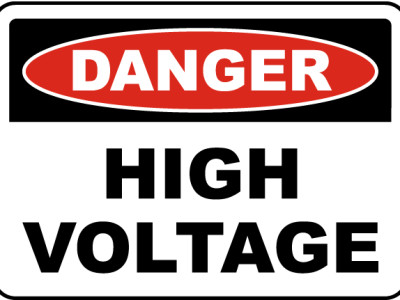 High voltage signs.