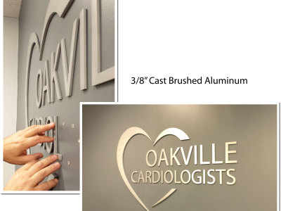 "3/8"" cast 3D letters for doctors office reception, Oakville"