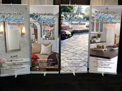 Retractable banners for tradeshow.