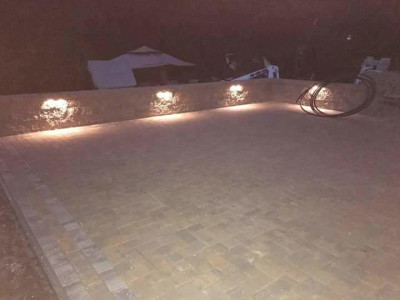 Completed - New patio, sitting wall and lighting (Woburn, MA)