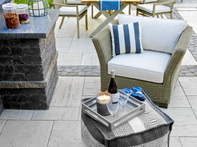 Dive into a bottle of wine out on the new patio