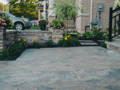 interlock with natural stone accents