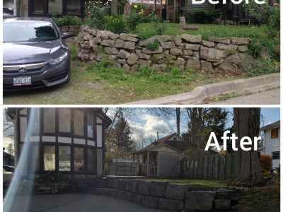 Before and after of a Landscape of a Grimsby beach residence,