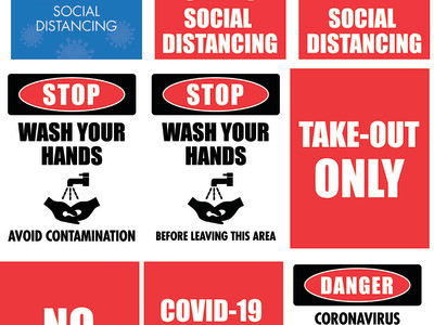 COVID 19 Decals for doors and windows.
