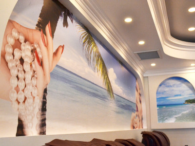 Nail salon wall mural design to installation.