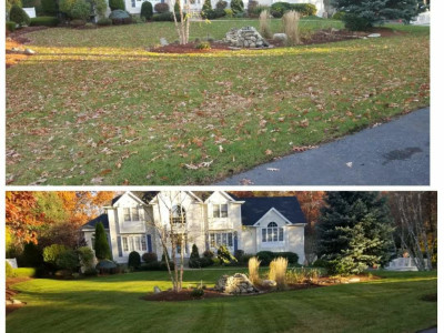 Before and after of a fall cleanup (Wilmington, MA)