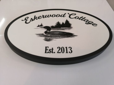 Oval wooden cottage sign with printed graphic 3/4 crezon plywood. Hamilton Ontario