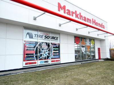 Honda dealer tire sign window graphics, Markham, Ontario.