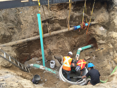 Manhole and sewer repair at Mapleleaf Foods Toronto