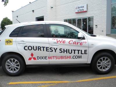 Mitsubishi courtesy car graphics, Mississauga, Ontario.