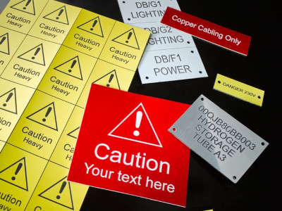 Lamacoid engraved safety labels.