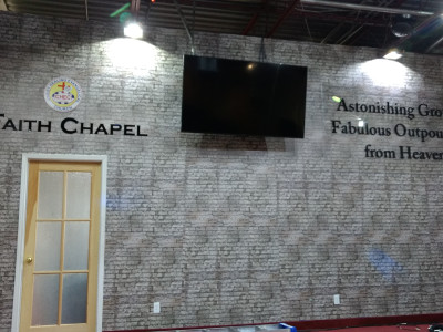 Printed wall mural for chapel stage in Mississauga, Ontario.