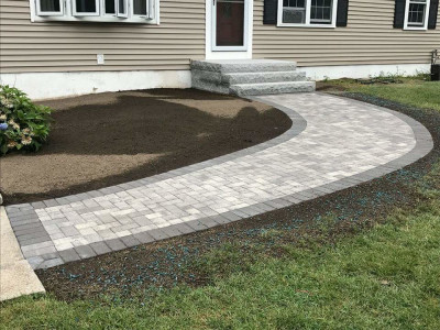 Completed - New walkway, granite stairs, irrigation system, shed platform and side parking area (Woburn, MA)