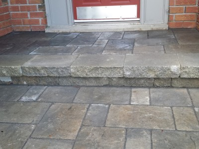 This concrete porch got a new look, with an new overlay to match the walkway