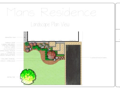 Color Landscape design of a simple front entrance