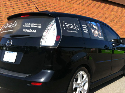 Mazda 5 window graphics, Oakville, Ontario.