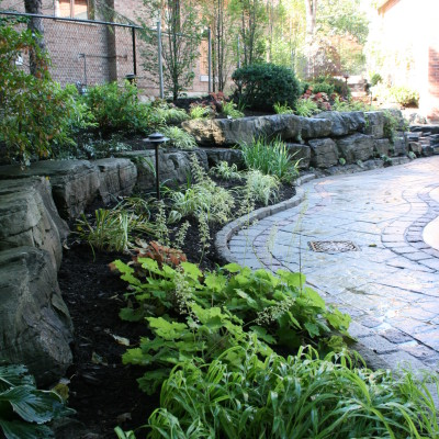 The dark colour of a natural stone wall brings out the colours of your plantings