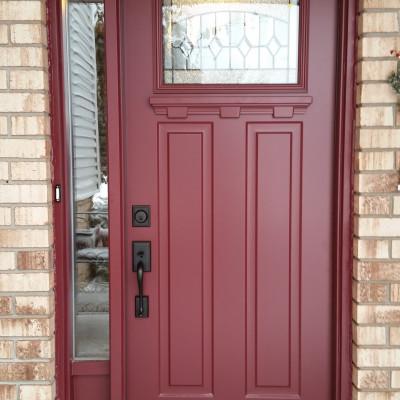 Door with 1/4 lite & decorative shelf & sidelite