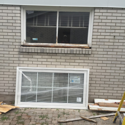 Taking out old garage window