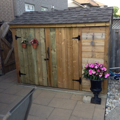 this was a shed that was a fence around pool equipment, used posted that were already the