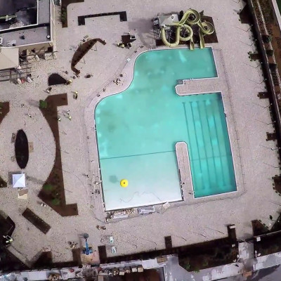 Overhead shot of Lifetime Fitness pool deck Ajax