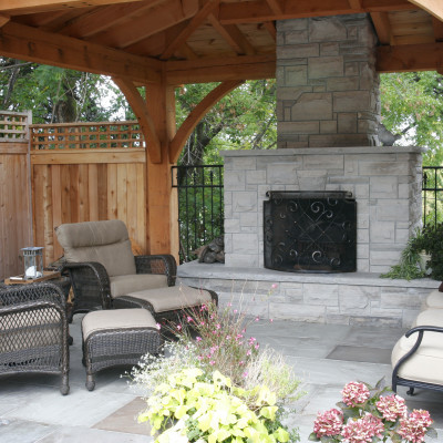 Outdoor Living Structure with Fireplace