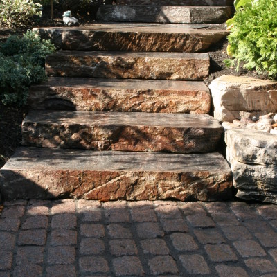 Powerful yet soft natural stone steps....