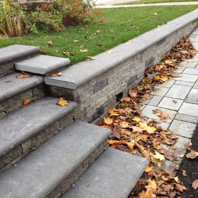 It's easy to add a staircase into any segmental retaining wall!