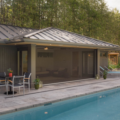 Pool House with Retractable Screens