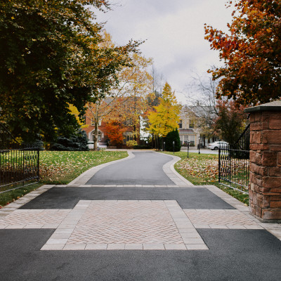 asphalt with interlock details and borders