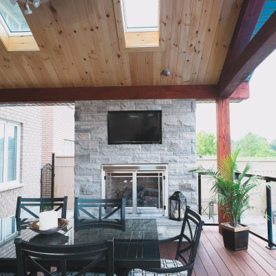 Fireplace with Outdoor Living Structure