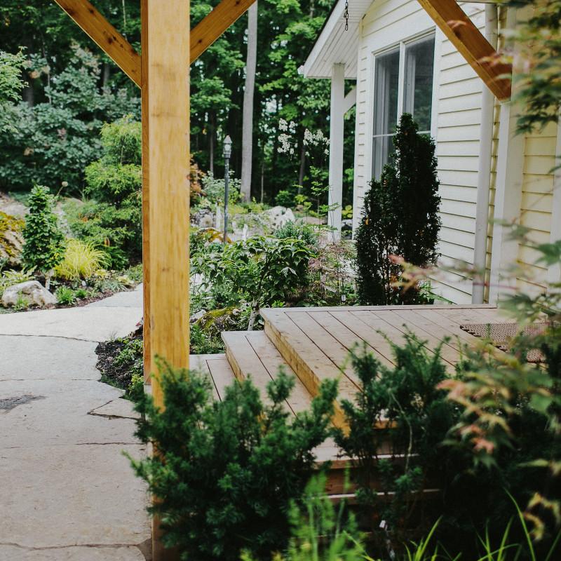 oversized flagstone walkway to deck entryway