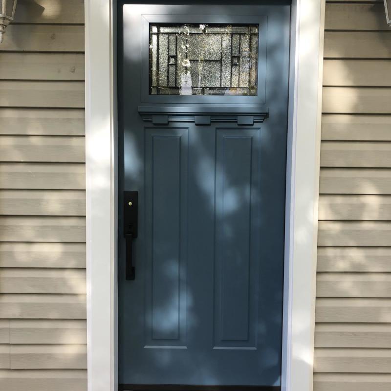 Door with 1/4 lite & decorative shelf