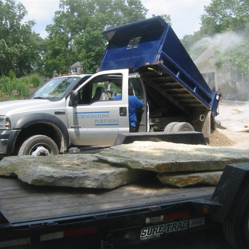 IN-PROGRESS: Natural stone retaining wall installation